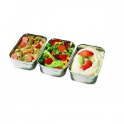 Duo 2-Compartment dish stainless steel