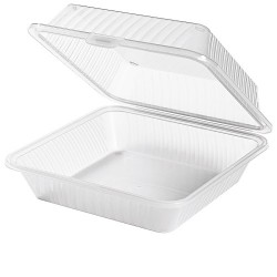 PP 1-compartment dish high lid white (12 pcs)