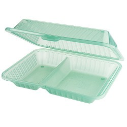 PP 2-compartment dish green (12 st)